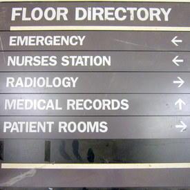 Hospital Floor Directory Sign 46cm High 51cm Long