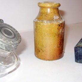 Clear Glass Ink Bottle, Ceramic Vase, Green Glass Ink Bottle 7cm To 10cm High