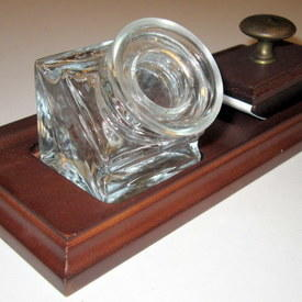 Clear Glass Ink Well And Blotter Set On Wooden Stand