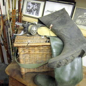 Fishing Basket, Reel And Boots