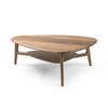 Walnut Triangular Coffee Table With Shelf  (115cm X 69cm X 39cm H)