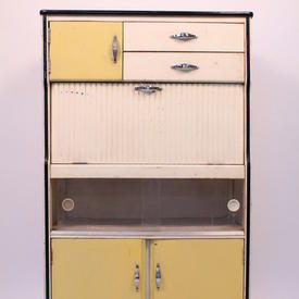 Yellow & White 3 Door 2 Drawer Drop Front Easiwork Cabinet