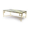 Green Marble & Shiny Gold Anna Coffee Table  (130cm X 70cm X 46cm H)