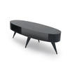 Black Steele Oval Coffee Table With Shelf