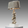 Oyster Shell Table Lamp With Grey Skin Oval Metal Shade