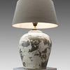 Stone Bulbous Table Lamp With Grey Shade