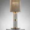 White Marble Donna Table Lamp With Ribbed Gold Plated Shade
