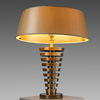 Bronze Stepped Deco Table Lamp With Gold Shade