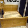 "Classic Loire French Oak 4'6"" Sleigh Bed Complete [Mattress Not Inc]"