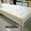 "4'6"" Off White Metal Noved Bed Frame Complete"