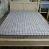"4'6"" Antique White Wooden Bed Complete"