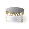 Gold Chain Circular Coffee Table With Smoked Glass Top (69cm X 40cm H)