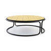 Black Tubular Circular Coffee Table With Yellow Ceramic Top  (105cm X 38cm H)