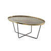 Aged Brass Oval Coffee Table On Cross Base  (100cm X 60cm X 40cm H)