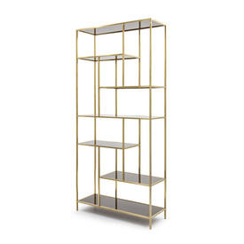 Brushed Gold ''Lloyd'' Shelving Unit with Smoked Glass Shelves