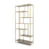 Brushed Gold Lloyd Shelving Unit With Smoked Glass Shelves ( H: 210cm W: 98cm D: 35cm )