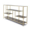 Brushed Gold 'lloyd' Low Shelving / Sideboard Unit With Smoked Glass Shelves (190 Cm X 40 Cm X 108 Cm)