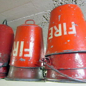 Vintage Red Fire Buckets