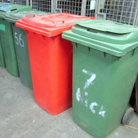 Green And Red Wheeled Waste Bins