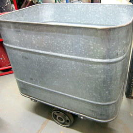 Galvanised Tin Bucket On Wheels 82cm Long 84cm High 55cm Wide