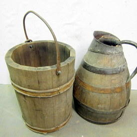 Antique Wooden Well Bucket And A Jug