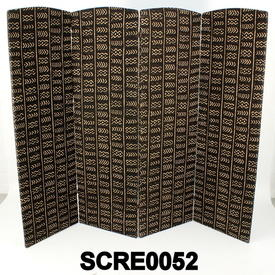 Trad Mud Cloth Print 4 Fold Screen