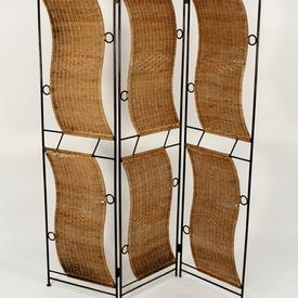 3 Fold Wrought Iron/Woven Wicker Panel Screen