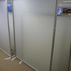 Floor Standing Frosted Acrylic Screen on  Metal Cresent Shape Feet