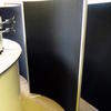 180cm X 143cm Curved Black Fabric Ali Trim Screenbase Screen With Metal Feet