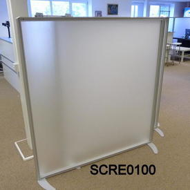 160Cm X 155Cm  Floor Standing Frosted Acrylic Screen with 2 Metal Cresent Shape Feet