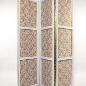 Wood Painted Frame 3 Fold Floral Pattern Screen
