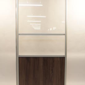 2.1 M X1' Clear Perspex And Pacific Walnut  3 Panel Screen