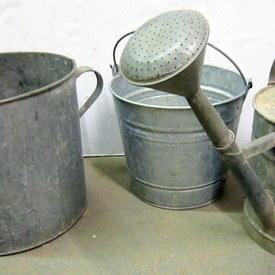 Vintage Galvanized Buckets And A Watering Can