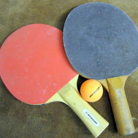 Table Tennis Rackets And A Ball