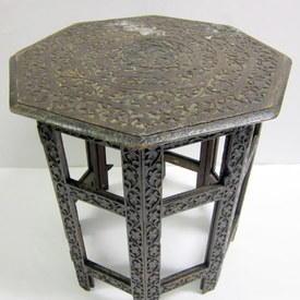 Small Wooden Octagonal Table 48cm High 46cm Wide Across Flats