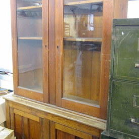Vintage Wooden Cabinet With Glass And Wooden Doors 223cm High 41cm Wide 129cm Long