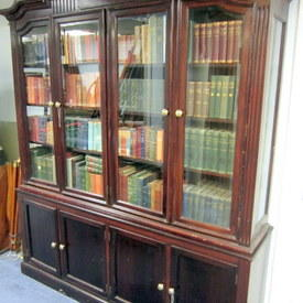 Wooden Book Cabinet With Glass And Wooden Doors