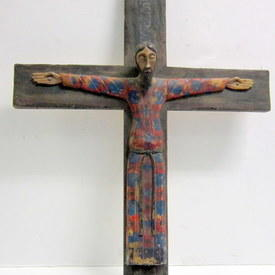 Wooden Cross With A Crucified Jesus 79cm Long 60cm Wide