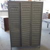 3 Door Grey Metal Ridged Locker  (, Vintage)