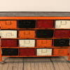Orange Metal & Wood Top Trolley With 16 Painted Metal Trays  ((153 Cm X 61 Cm X 90 Cm H))