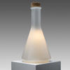 White Glass Cork Topped Conical Bottle Shaped Table Lamp