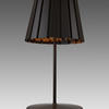 Dark Brown 'tank' Table Lamp + Pleated Metal Shade