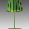 Pea Green 'tank' Table Lamp + Pleated Metal Shade