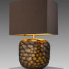 Tortoiseshell Pattern Glass 'somba' T/Lamp + Dk Brown Rect Shade