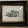 "13""X 11"" Black & Gilt Frame B&W Print, Wild Cat  (Y)"