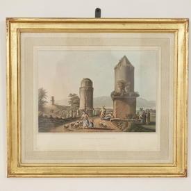 42Cm  x  50Cm Gilt Frame Colour Print Various Arabic, River Or Architecture Scene