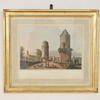42 Cm X 50 Cm Gilt Frame Colour Print Various Arabic, River Or Architecture Scene