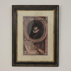 "22""X 17"" Black Frame Print Of Gents And Noblemen"