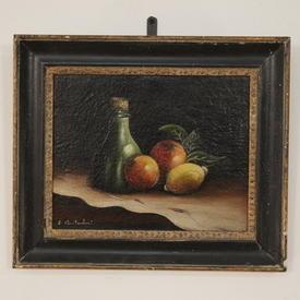 "16"" X 13"" Black And Glt Frame Oil On Canvas Still Life Fruit"