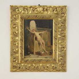 "15"" x  11"" Oil on Board Of Naked Lady on Throne with Carved Gilt Frame"